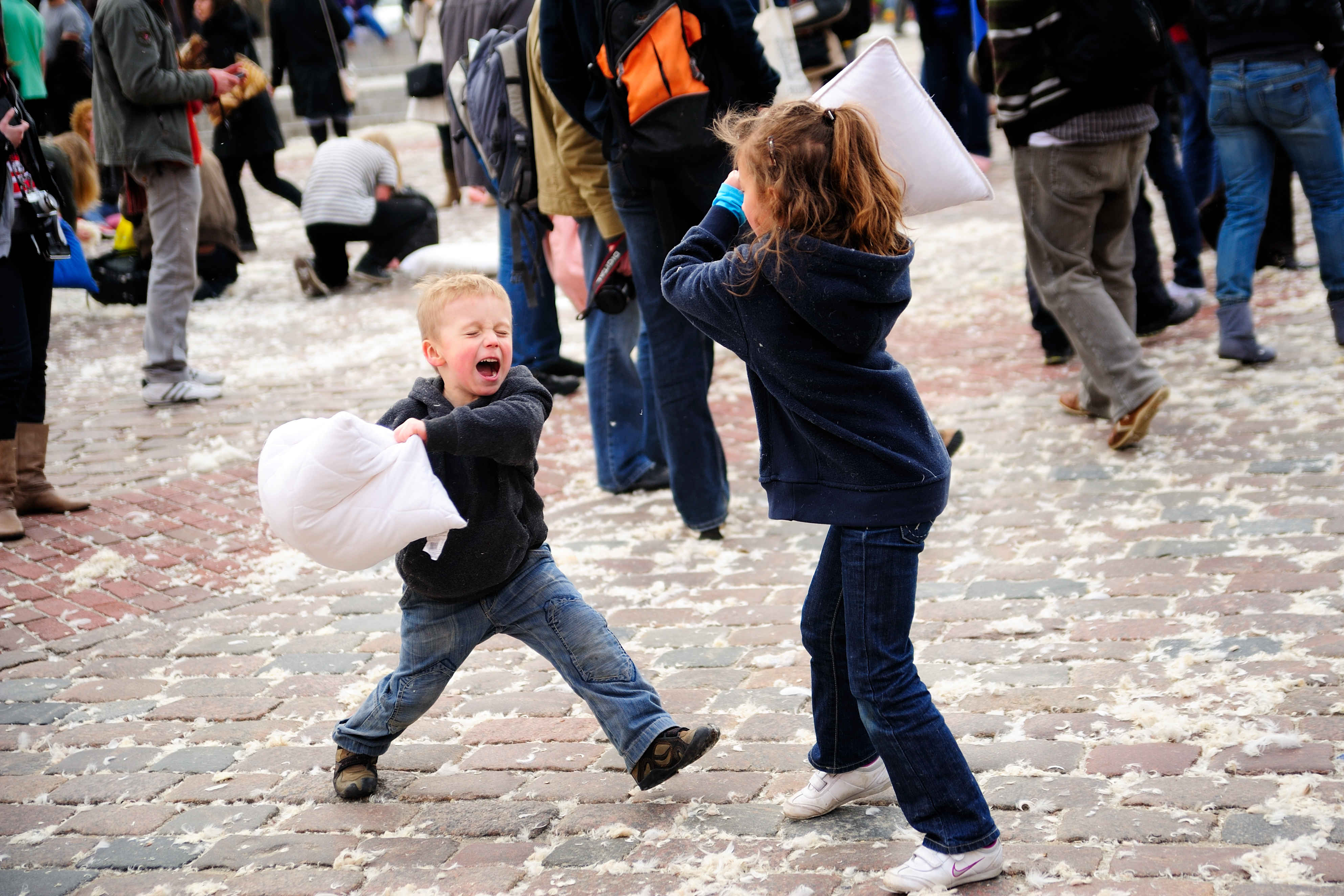 Annual Pillow Fight Attracts Hundreds to Washington Square Park